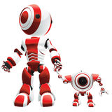 Robots in red and white Royalty Free Stock Image
