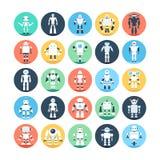 Robots, Robotics Colored Vector Icons 1 Stock Image