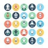 Robots, Robotics Colored Vector Icons 3 Stock Photo