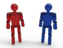 Robots rouges et bleus Image libre de droits