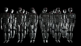 Robots in the row. 3D illustration Royalty Free Stock Photos
