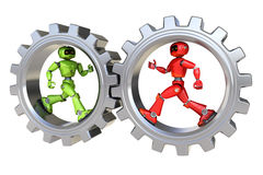 Robots run inside gear. Isolated on white background Royalty Free Stock Images