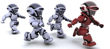 Robots running Stock Image
