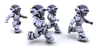 Robots running. 3d Render of robots competing in a race Stock Photos