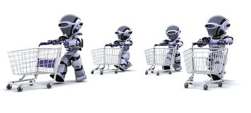 Robots running with shopping carts Royalty Free Stock Images