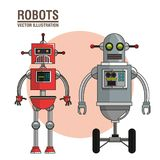 Robots science interface image vector illustration