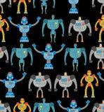 Robots seamless pattern. Cosmic cyborgs seamless pattern. Textur Stock Image