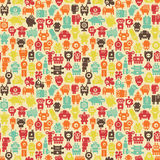Robots seamless pattern in retro style. Stock Images