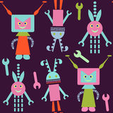 Robots seamless pattern and seamless pattern in swatch menu, vec. Tor  image Stock Photography