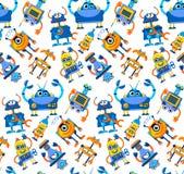 Robots seamless pattern on white background. Colorful futuristi stock illustration