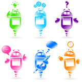 Robots set. Set of cute robot with different expressions and actions Stock Photography