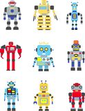 Robots set. Abstract robots set isolated on white background. Vector illustration Stock Photo