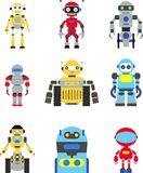 Robots set. Abstract robots set isolated on white background. Vector illustration Stock Images
