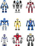 Robots set. Abstract robots set on white background. Vector illustration royalty free illustration