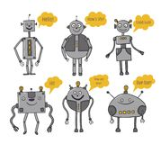 Robots set. Bots say. Artificial Intelligence. Future technologies. Metal characters. Robotization and automation of. Labor. Vector royalty free illustration