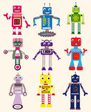 Robots set. Colorful cartoon vector set of funny robots vector illustration