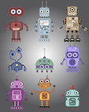 Robots. Set of cute vintage robots Royalty Free Stock Photography