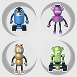 Robots set of illustrations 3D. Cartoon Character Cute Robot Royalty Free Stock Photography
