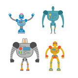 Robots Set . Space invaders Cyborgs. Iron colored robots. Royalty Free Stock Image