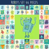 Robots Set, vector Illustration, Hand Drawing Stock Photo