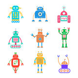 Robots set 2. Vector set of retro robots. Vector illustration isolated on white stock illustration