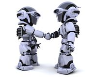 Robots shaking hands. 3d render of two robots shaking hands stock illustration