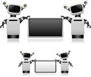 Robots With Sign Stock Photo
