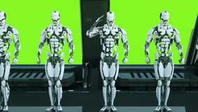 Robots soldiers on a spaceship salute against the background of green screen. A futuristic concept of a UFO. Loopable