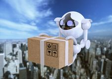 Robots, spherical drones flying with box in their claws. Robots, spherical drones flying overhead with box in their claws. Drones artificial intelligence stock image