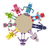 Robots staying on circle. Colorful cartoon vector set of funny robots staying on the circle Stock Photos