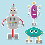 Robots stickers. vector illustration, isolated design elements. For kids Royalty Free Stock Image