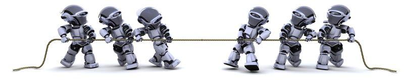 Robots tirant sur une corde Image stock