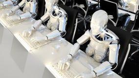 Robots van de toekomstige werkzaamheden in bureaus op computers het 3d teruggeven vector illustratie