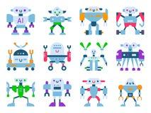 Robots vector cartoon robotic kids toy cute character monster or transformer cyborg robotics transform robotically. In white background illustration Stock Photos