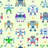 Robots vector cartoon robotic kids toy cute character monster or transformer cyborg robotics transform robotically. Seamless pattern background Royalty Free Stock Photo