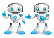 Robots vector character set. Friendly mascot robot design element Royalty Free Stock Image