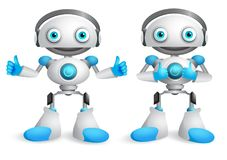 Robots vector character set. Funny mascot robot design element Stock Photos