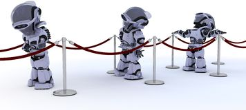 Robots waiting in line. 3D render of Robots waiting in line Royalty Free Stock Photography