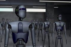 Robots. A warehouse full of robots stock illustration