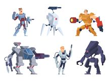 Robots warriors. Characters in exoskeleton brutal future soldiers technology android with guns vector cartoon mascot. Armor cyborg and robotic character stock illustration