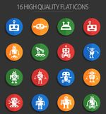 Robots 16 flat icons. Robots web icons for user interface design Stock Images