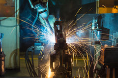Robots welding Royalty Free Stock Photos