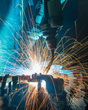 Robots welding Royalty Free Stock Photos
