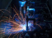 Robots welding Royalty Free Stock Images