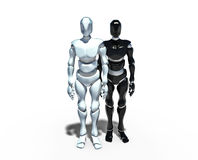 Robots, white and black. Two robots standing side by side on a white background stock illustration
