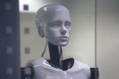 Robotskyltdocka i ett shoppafönster Arkivbilder