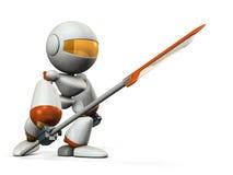 Robotstrijder met grote spear Stock Afbeeldingen