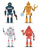 Robotteckenillustrationer Polisen konstruktion, läkarundersökning, brandmanrobot royaltyfri illustrationer