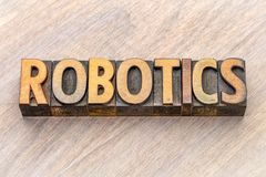 Robotteknik - ordabstrakt begrepp i wood typ arkivbilder