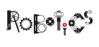 Robotteknikord Inskriften och bokstäverna stiliseras i form av detaljer av robotar och mekanism royaltyfri illustrationer